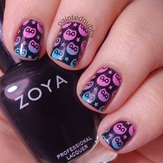 Painted Nubbs: Stamping Saturdays #2- Born Pretty Store BP54...Zoya Willa stamped with gradient owls.