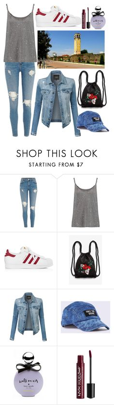 """""""in my city"""" by altrisa-mulla ❤ liked on Polyvore featuring Current/Elliott, adidas, Monki, LE3NO, Diesel, Kate Spade and NYX"""