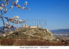 Easter in Spain - Spanish castle with almonds flowers. Location: Castalla (Alicante - Spain)