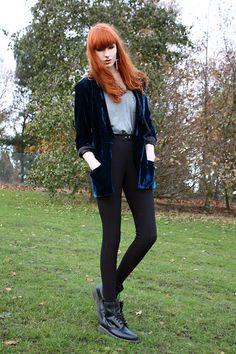 Olivia Emily - One Teaspoon Velvet Blazer, Jay's Tank Top, American Apparel Riding Pants, Dms - Head over heels