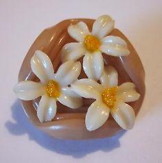 GORGEOUS Realistic Antique Vintage CELLULOID FLOWER Button!
