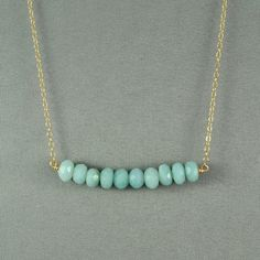 Beautiful Amazonite Beaded Necklace, Wired Beads, 14K Gold Filled Chain,  also in Sterling Silver