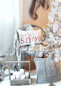 Create a magical rustic modern Christmas display using a white Christmas tree and ombre gray ornaments. The pops of red on this Christmas display keep your eye moving and pulls you in. Such a dreamy setting. White Christmas Trees, Beautiful Christmas Decorations, Christmas Tree Design, Christmas Yard, Outdoor Christmas Decorations, Modern Christmas, Christmas Love, Country Christmas, Christmas Holidays