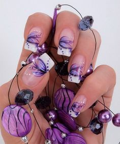 Purple Flowers With White Tip Nail Art Design Idea