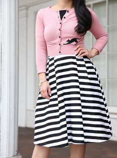 How to wear a striped skirt - striped midi skirt black, off the shoulder top pink cat cardigan, retro outfit, modest style, work outfit