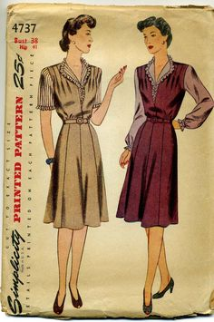 This WWII pattern shows how to cut the blouse from a man's shirt and the jumper from an old dress. Great piece of memorabilia.