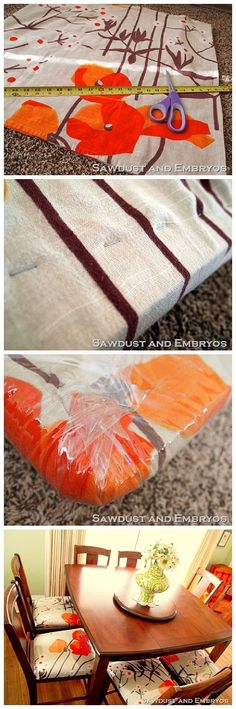 How To: Upholster Fabric Dining Room Chairs And Add Plastic To Make Them  Waterproof And