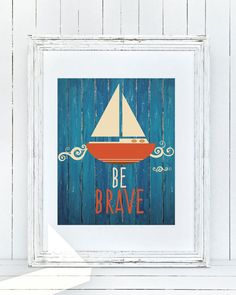 This 8x10 Be Brave nautical themed {simple printable} is a adorable piece to put in your sons nursery or bedroom. It perfectly fits a nautical themed