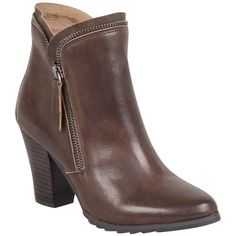 Miz Mooz Women's Donna High Heel Boot ($175) ❤ liked on Polyvore featuring shoes, boots, brown, zipper boots, genuine leather boots, faux leather boots, synthetic leather boots and high heel shoes