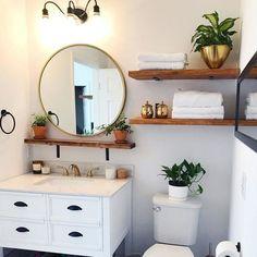 boho Bathroom Decor Perfect Bathroom Shelf Storage Ideas For Your Inspiration; Bathroom Renos, Bathroom Interior, Washroom, Bathroom Remodeling, Cheap Bathroom Remodel, Restroom Remodel, Remodeling Ideas, Bathroom Storage Shelves, Bathroom Shelf Decor