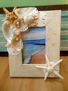 Seashell Picture Frame - Shell Frame - White Shells and Starfish Shell Picture Frame - Beach wedding