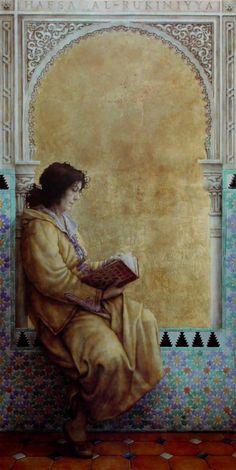 Al-Andalus ( الأندلس ) Hafsa bint al-Hajj, dite Al-Rakuniyya, née à Grenade vers l'an 1135 et morte à Marrakech en 1191, est l'une des poétesses andalouses les plus célèbres d'Al-Andalus