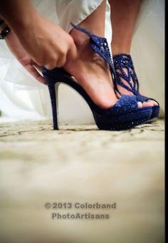Something blue wedding shoe Navy Blue And Gold Wedding, Blue Wedding Shoes, Wedding Colors, Wedding Dress Accessories, Wedding Dresses, Wedding Attire, Something Blue Wedding, Winter Bride, August Wedding