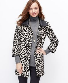 Cheetah Coat, Layer over a cozy sweater or pair it with long gloves for a sleek evening look l Ann Taylor
