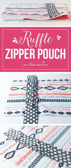 Ruffled Zipper Pouch - a fun accessory to hold all of your essentials or everyday items neatly in your purse.