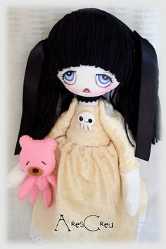 Katya gothic sad little girl with pink teddy bear all handmade by AresCrea #goth…