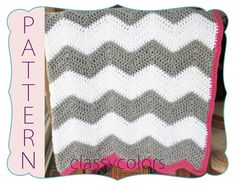 CROCHET PATTERN : Chevron baby blanket crochet pattern