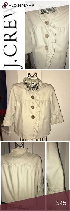 J.CREW RUFFLE CROPPED BUTTON DOWN COTTON JKT SZ 12 Here is a very feminine and flouncy 100% cotton that is mid weight canvas style cropped Jkt. It is trimmed with a lacy style accent around the neck, the front and on the cuffs. It is a 3/4 length sleeve and wooden buttons down the front. it is in Like new condition and has never been worn so it is still a bit stiff and structured. It is a great spring jkt for those days of spring. The color and the weight of the jkt make for it. It is a size…