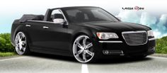 "2013 Chrysler 300 SRT8 with 24"" Vision 436 Hollywood 6 wheels in chrome."