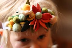Apricot  Flower Fairy Crown  Felted Wool Headband  by sqrlbee