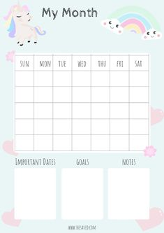 FREE Printable Unicorn Calendar Pages - SheSaved®