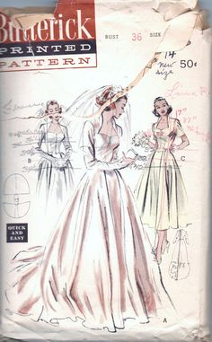 1950s vintage pattern Butterick 6337 1953 size 18 bust 36 waist 30 hip 39 Wedding Gown or daytime dress Quick and Easy