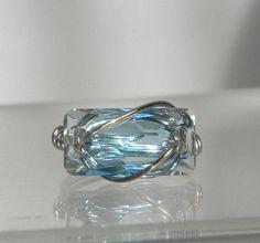 Swarovski Clear Aquamarine Ring by jewelrysldesigns on Etsy, $17.95