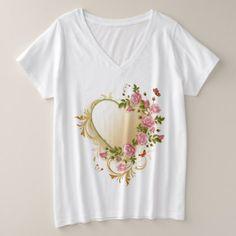 Victorian Heart Plus-Size V-Neck T-Shirt - Saint Valentine's Day gift idea couple love girlfriend boyfriend design