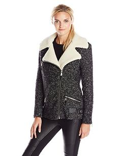 BCBGeneration Womens Tweed Moto Coat with Faux Shearling Collar