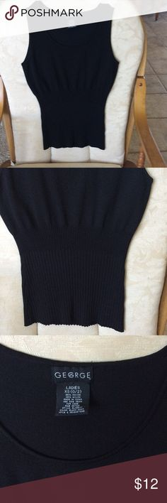 George black knit top. Ladies XS🌹 Beautiful rayon and nylon knit top. Ribbed midriff. Like new condition. Ladies XS George Tops