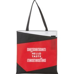 """Our Color Angle Non-Woven Convention Tote is one of our new stylish convention tote bags. Thsi tote features an open main compartment, front slash pocket and two pen loops, and 11"""" drop handles. Add your company logo today at NYFifth.com  #totebag #conventiontote #promotionalproducts Custom Tote Bags, Royal Red, Business Events, Leeds, Screen Printing, Company Logo, Drop, Pocket, Stylish"""