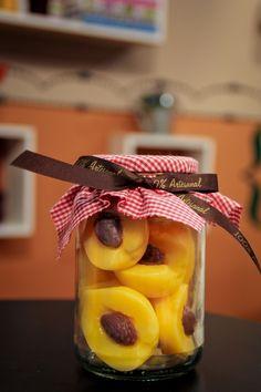 Compota de pêssego com caroço - sabonete artesanal
