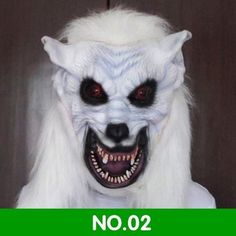 SCARY & REALISTIC WHITE WOLF LATEX FULL-HEAD HALLOWEEN MASK FREE SHIPPING