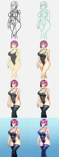 Swimsuit girl step by step by xxNIKICHENxx on DeviantArt Manga Drawing, Manga Art, Anime Art, Character Concept, Character Art, Character Design, Figure Drawing Reference, Cool Sketches, Human Art