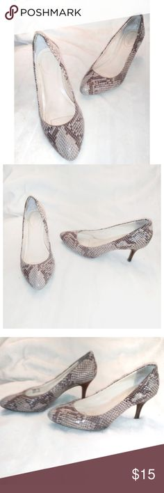 """Calvin Klein Selene (Snakeskin) Pumps These Calvin Klein Selene pumps have not only a snakeskin look to them, but also the texture feels as such. They're a pinky-beige and brown and have a rubber bottom to help prevent from slipping and a 2.5"""" heel in size 6.5. Calvin Klein Shoes Heels"""