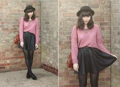Pink & Leather (by Sarah B) http://lookbook.nu/look/2452407-Pink-Leather