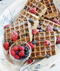 Gluten-Free Lemon Blueberry Belgian Waffles that are vegan, soy-free and oil-free! Plus Tuesday May12 you can buy the ebook of OATrageous for 99 cents! | HealthySlowCooking.com