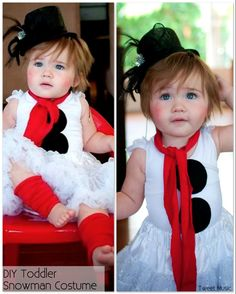 Turn your toddler into an adorable snowman! Begin with a black tutu and white leotard or other suitable white top. Create a scarf and leg warmers by cutting up a pair of red stockings. Complete with a mini black hat. Simply Adorable!