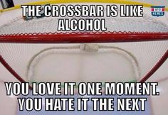 It's a love/hate relationship-with not only the crossbar, but the posts too! Hockey Sayings, Funny Hockey, Hockey Memes, Pro Hockey, Hockey Stuff, Goalie Gear, Goalie Mask, Hockey Goalie, Hockey Players