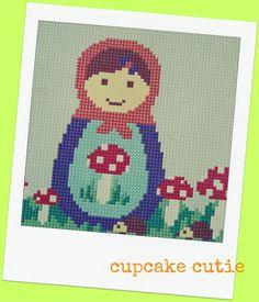 Mushroom, toadstool Babushka, Matryoshka, Russian Doll cross stitch, needlepoint pdf pattern. Woodland. $7.00, via Etsy.