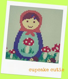 Mushroom, toadstool Babushka, Matryoshka, Russian Doll cross stitch, needlepoint pdf pattern. Woodland. $7.00, via Etsy.