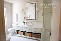 Gray cottage bathroom