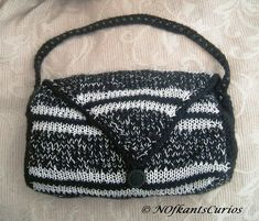Magpie Inspired Hand Knitted & Crocheted Handbag with Bead Strap £15.00