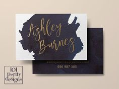 Watercolor business card template gold printable business card design gold and navy business cards custom busienss card gold foil makeup