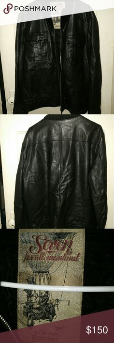 7 For All Mankind, Leather Bomber Jacket, Size L Beautiful 7 for All Mankind Leather Bomber Jacket, Size Large. 7 For All Mankind Jackets & Coats Bomber & Varsity
