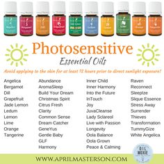 Photosensitive Essential Oils   Keep this list on hand for the sunny days of spring and summer   Read here -->http://www.aprilmasterson.com/photosensitive-essential-oils/