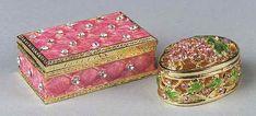 1037: 2 Sm Bejeweled Pink Enamel Metal Boxes