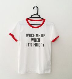 Wake me up funny TShirt Tumblr Quote Ringer Tee Shirt by SpiceTeen