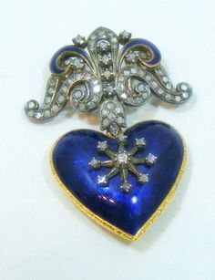 ANTIQUE VICTORIAN EDWARDIAN 18K YELLOW GOLD BLUE ENAMEL DIAMOND LOCKET BROOCH http://sfbayhomes.com