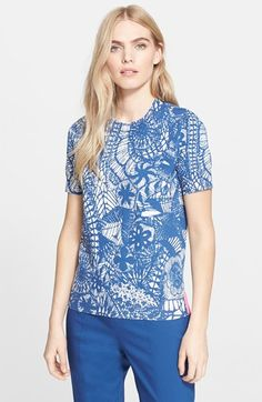 Tory Burch Print Short Sleeve Sweater available at #Nordstrom